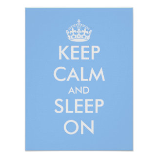 Keep calm and sleep on | Baby blue nursery poster