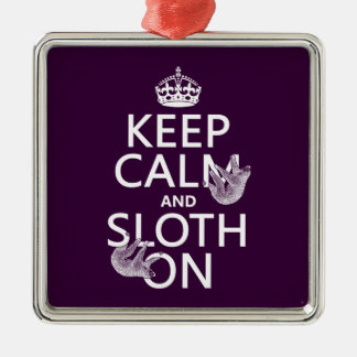 Keep Calm and Sloth On Silver-Colored Square Decoration