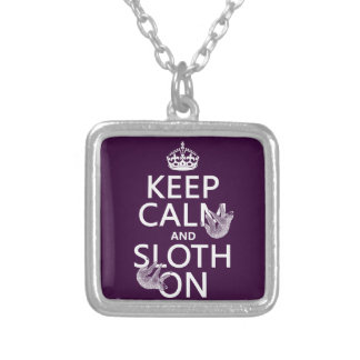 Keep Calm and Sloth On Silver Plated Necklace