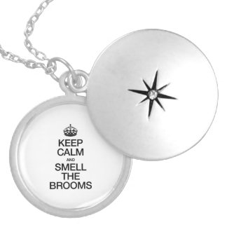 KEEP CALM AND SMELL THE BROOMS ROUND LOCKET NECKLACE
