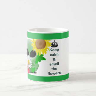Keep calm and smell the flowers basic white mug