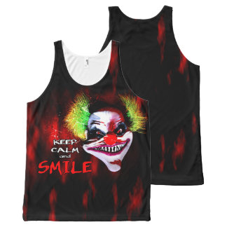 keep calm and smile - creepy horror clown All-Over print tank top