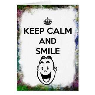 Keep Calm and Smile Grunge Border Big Smile Greeting Card