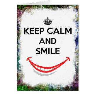Keep Calm and Smile Grunge Border Card