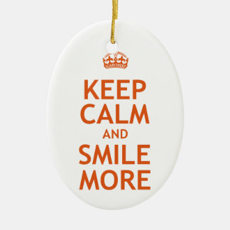 Keep Calm and Smile More Ceramic Oval Decoration