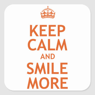 Keep Calm and Smile More Square Stickers
