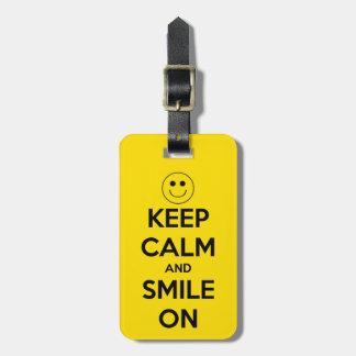 Keep Calm and Smile On Yellow Luggage Tag