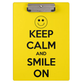 Keep Calm and Smile On Yellow Personalized Clipboard