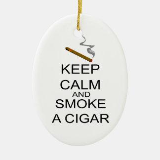 Keep Calm And Smoke A Cigar Ceramic Oval Decoration