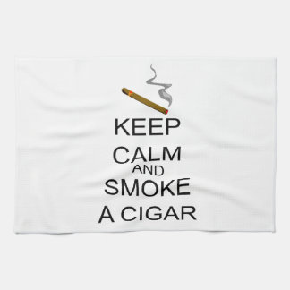 Keep Calm And Smoke A Cigar Tea Towel