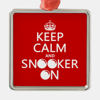 Keep Calm and Snooker On (all colors) Silver-Colored Square Decoration