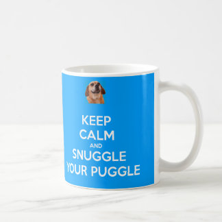 Keep Calm and Snuggle Your Puggle MUG - Blue
