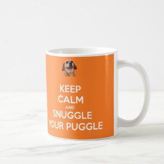 Keep Calm and Snuggle Your Puggle MUG - Orange