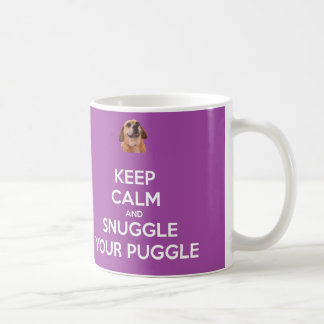 Keep Calm and Snuggle Your Puggle MUG - Purple