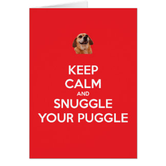Keep Calm and Snuggle Your Puggle Red Christmas Card