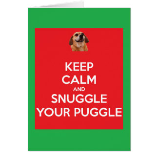 Keep Calm and Snuggle Your Puggle Red/Gr Christmas Card