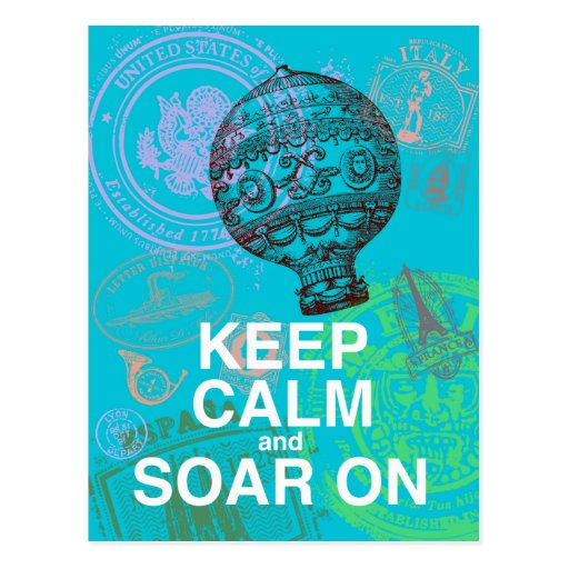 Keep Calm and Soar On fun art print Postcard