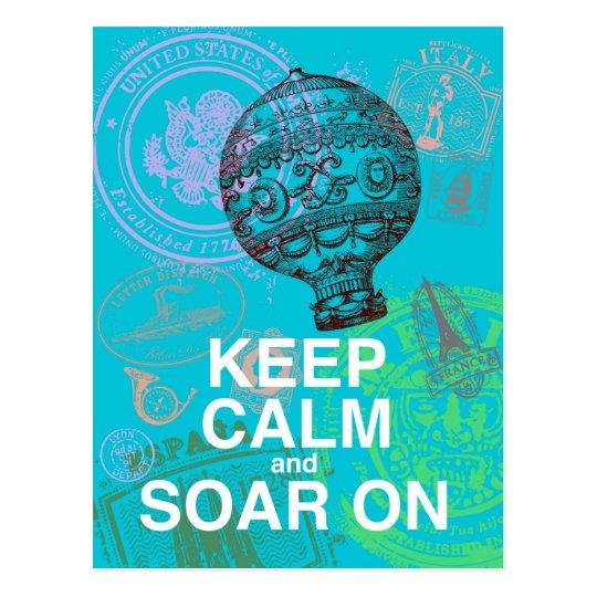 Keep Calm and Soar On fun art print Postcard