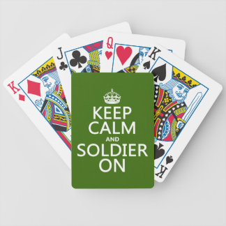 Keep Calm and Soldier On (any background color) Bicycle Playing Cards