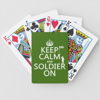 Keep Calm and Soldier On (UK flag)(any color) Bicycle Playing Cards
