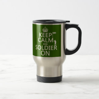 Keep Calm and Soldier On (UK flag)(any color) Stainless Steel Travel Mug