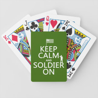 Keep Calm and Soldier On (US flag) (any color) Bicycle Playing Cards