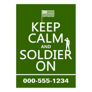 Keep Calm and Soldier On (US flag) (any color) Pack Of Chubby Business Cards