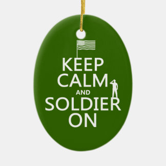 Keep Calm and Soldier On (US flag) (any color) Christmas Ornament