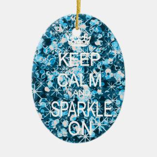 Keep calm and sparkle blue christmas ornament