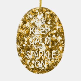 Keep calm and sparkle gold christmas ornament