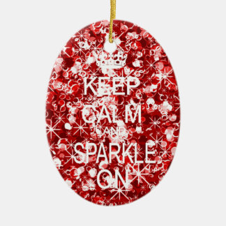 Keep calm and sparkle red christmas ornament
