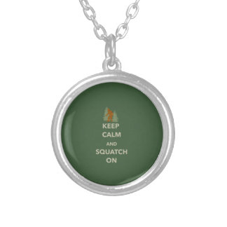 KEEP CALM AND SQUATCH ON ROUND PENDANT NECKLACE