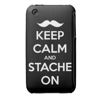 Keep Calm and stache on mustache funny facial hair iPhone 3 Covers