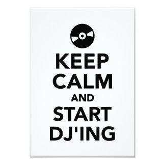 Keep calm and start DJ 3.5x5 Paper Invitation Card