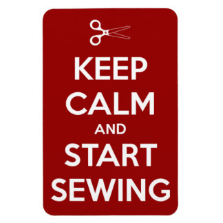 Keep Calm and Start Sewing Red Rectangular Photo Magnet
