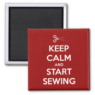 Keep Calm and Start Sewing Red Square Magnet