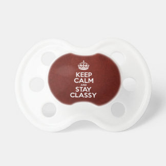 Keep Calm and Stay Classy - Red Leather Baby Pacifier