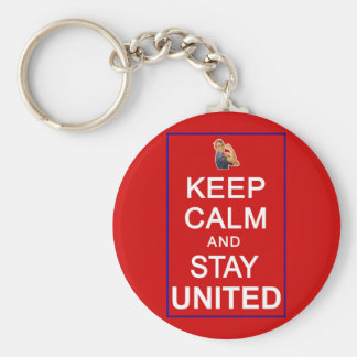 Keep Calm and Stay United Womens Rights Basic Round Button Key Ring