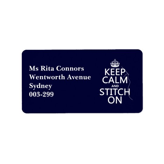 Keep Calm and Stitch On (all colours) Label