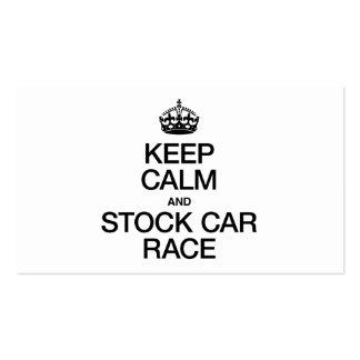 KEEP CALM AND STOCK CAR RACE BUSINESS CARD