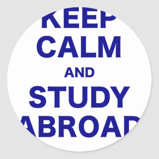 Keep Calm and Study Abroad Round Sticker