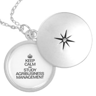 KEEP CALM AND STUDY AGRIBUSINESS MANAGEMENT ROUND LOCKET NECKLACE