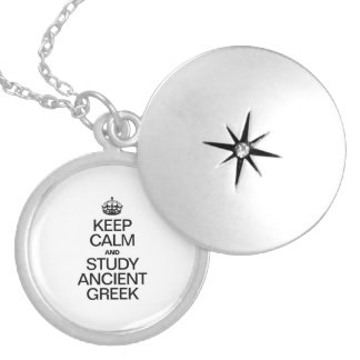 KEEP CALM AND STUDY ANCIENT GREEK ROUND LOCKET NECKLACE