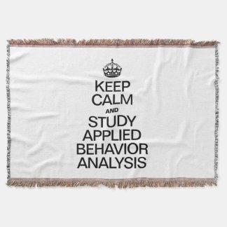 KEEP CALM AND STUDY APPLIED BEHAVIOR ANALYSIS THROW BLANKET