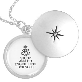 KEEP CALM AND STUDY APPLIED ENGINEERING SCEINCES ROUND LOCKET NECKLACE