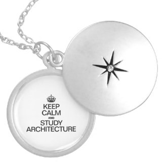 KEEP CALM AND STUDY ARCHITECTURE ROUND LOCKET NECKLACE