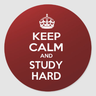 Keep Calm and Study Hard Round Sticker