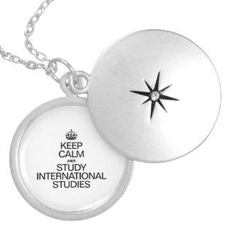 KEEP CALM AND STUDY INTERNATIONAL STUDIES ROUND LOCKET NECKLACE