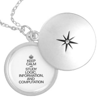 KEEP CALM AND STUDY LOGIC INFORMATION AND COMPUTAT ROUND LOCKET NECKLACE