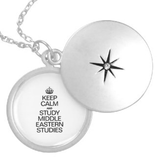 KEEP CALM AND STUDY MIDDLE EASTERN STUDIES ROUND LOCKET NECKLACE